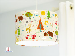 Lampe fürs Kinderzimmer und Babys mit Waldtieren in Beige aus Baumwolle