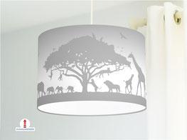 Deckenlampe für Kinderzimmer mit Safari Tieren aus Afrika in Grau aus Baumwolle