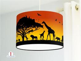 Bio Lampe Kinderzimmer Safari Tiere mit Sonnenuntergang aus Bio-Baumwolle - alle Farben möglich