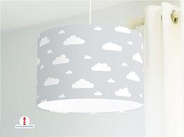 Kinderzimmer Lampe Wolken in Grau aus Bio-Baumwollstoff - alle Farben möglich