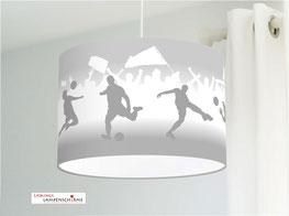 Lampe für Jungs mit Fußball in Grau aus Baumwolle