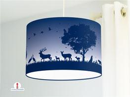 Lampe für Kinderzimmer mit Waldtieren in dunklem Marine-Blau aus Bio-Baumwollstoff - andere Farben möglich