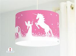 Lampe für Mädchen und Kinderzimmer mit Einhörnern & Elfen aus Baumwolle