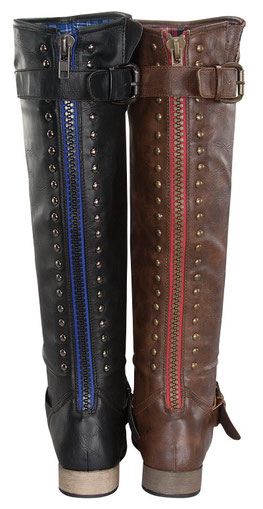 Ladies fashionable stylish knee boot with side buckle and studs on back side decorated..  Newest and most recent arrive boot for 2013. They are still HOT! and selling Fast!  We strongly suggest you order it while they still in stocks. Large s PRICE €78.00