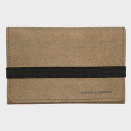 Kleiner Geldbeutel braun/schwarz Papierleder und Gummi