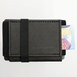 Kleines Portemonnaie Damen und Herren schwarz mit Schein
