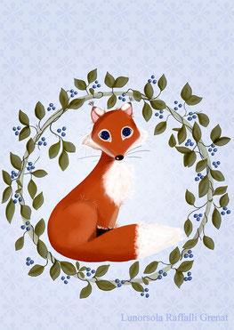Illustration cabochon médaillon du personnage renard Figaro du projet de livre de l'auteure Cloé Perrotin avec l'illustratrice Lunorsola Raffali Grenat