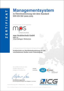 Zertifikat DIN EN ISO 13485