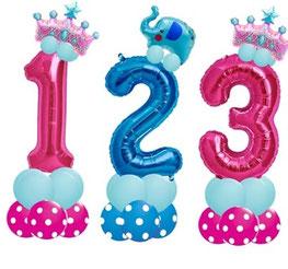 Luftballon Ballon Folienballon Zahl Kindergeburtstag Kinder Mädchen Junge Princess Prinzess Elefant Kleinkind Party Fete süß Ballonzahl Folienzahl