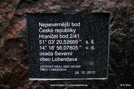 Tafel auf tschechischer Seite