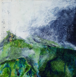 """Misty Mountain Morning"" 25.5 x 25.5cm mixed media on handmade cradled board. MMM01mm."