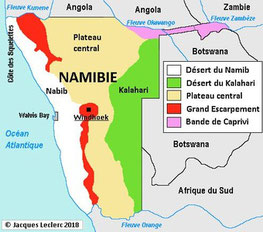 Carte géographique #Afrique #Namibie