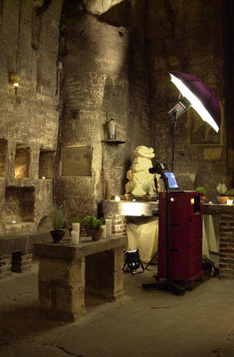 foto van de Galastudio in de gewelven van Chateau Neercanne