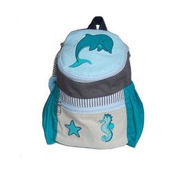 Kinderrucksack mit Seepferdchen und Delfin