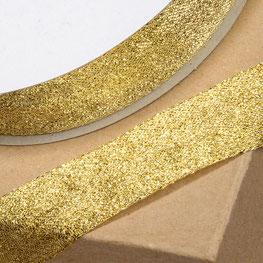 Lurex Gitterband //Schleifenband//Geschenkband 15mm gold mit Drahtkante  Meterware