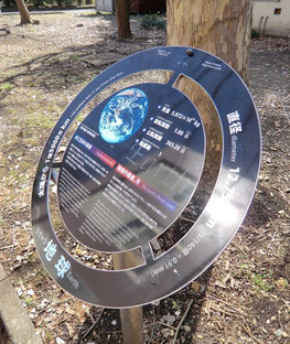 ●太陽系ウォーキングの模型。太陽系の距離を140億分の1に縮めた展示。地球です