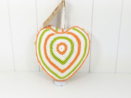 Herz Spieluhr Baumwolle orange weiß grün - retro
