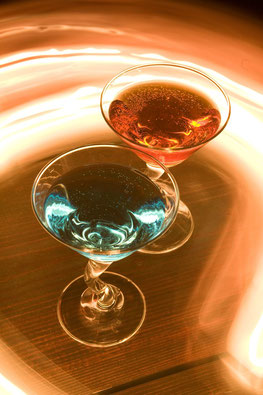 Red and blue burning cocktail