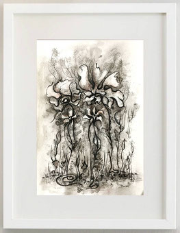 LA FORESTA DEI FIORI, Inchiostro di china e carboncino, 20 x 30
