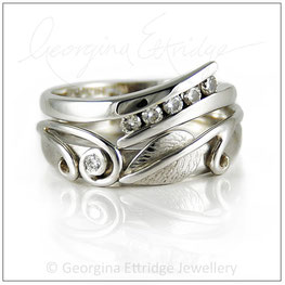Leaf & Two Tendrils Ring Created to fit with an unusual shaped engagement ring ring