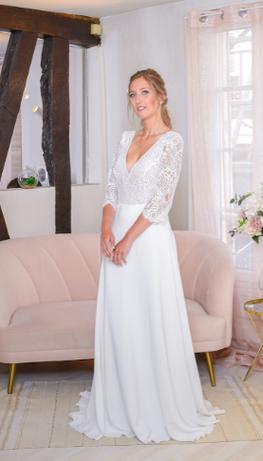 robe de mariee empire fabrication francaise dentelle de calais yveline paris