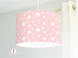 Lampe für Mädchen und Kinderzimmer mit weißen Sternen aus Baumwollstoff - andere Farben möglich
