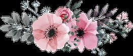 Graphische Darstellung eines Blumengestecks in Rosa