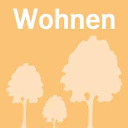 Button Wohnen, orange mit 3 helleren Bäumen