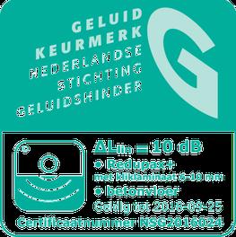 Label of logo geluidskeurmerk 10 dB reductie laminaatvloer