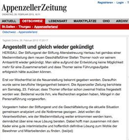 Screenshot Appenzeller Zeitung Online