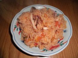 アオリイカのパエリア風炊き込みご飯の写真