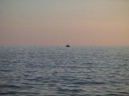 二見漁港の夕陽