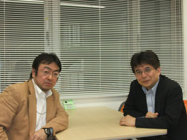 IC協会顧問、田代コンサルティング社長の田代英治さん(左)とわたし。田代さんの事務所もおなじ内幸町にあって、ご近所同士です。