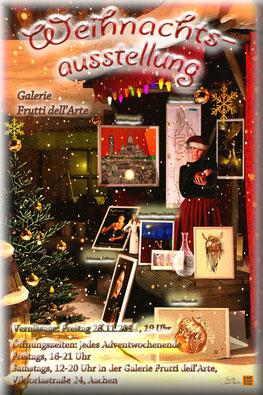Plakat der Weihnachtsausstellung 2014 in der Galerie Frutti dell'Arte, ein Aachener Weihnachtsmarkt für Kunst