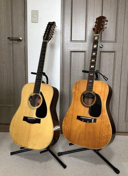 左側:12弦ギター 右側:初代フォークギター