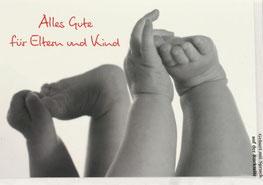 Karte zur Geburt Hände und Füße