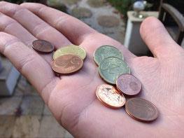 Pleite wenig Geld auf Hand Münzen Low Budget