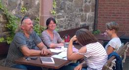 Besprechung mit Wolfgang, Sylvia Jeny und Jenny