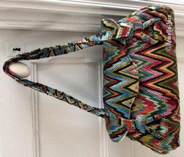 sac à main, bandoulière, artisanat, fait main, fabriqué en France,  marine, velours, beau tissu