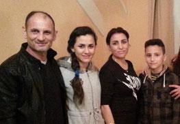 La famille Aolo, à leur arrivée à Morlaix le 8 janvier: Muthana (le papa), Marwi  (15 ans), Rouaa (la Maman), et Yousif (12 ans).