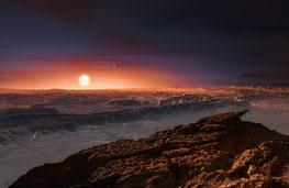 Künstlerische Darstellung der Oberfläche von Proxima b.  Quelle: ESO/M. Kornmesser