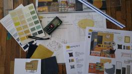 Projet déco, travaux de décoration, book déco, plan d'aménagement, shopping list, décoratrice d'intérieur Boulogne-Billancourt, décoration d'intérieur