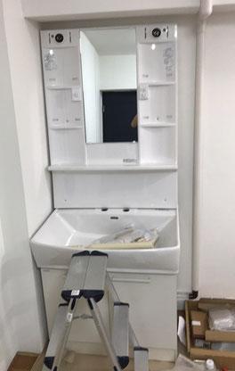 洗面化粧台、洗面鏡交換工事