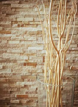 Ambientazione con muretto in pietra Honey