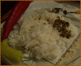 Riz blanc nature et piments