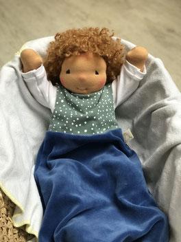 Stoffpuppe Babypuppe mit weichem Puppenkörper mit Schlafsack