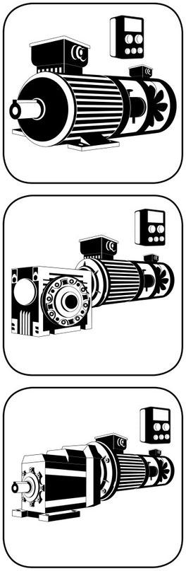 E Motor Drehstrom Incrementalgeber, dito am Schneckengetriebe, dito am Stirnradgetriebe, bei allen Fremdlüfter dabei
