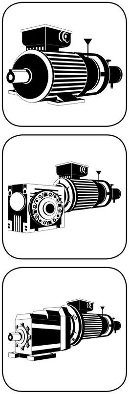 E Motor Drehstrom mit Bremse und Incrementalgeber, dito am Schneckengetriebe, dito am Stirnradgetriebe