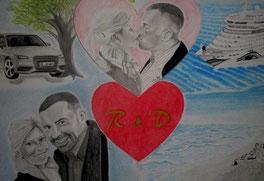 Kunst-meiner-Seele Liebesgeschichte als Collage gezeichnet