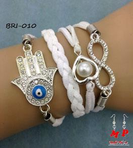 Bracelet infini blanc main de Fatma, coeur perlé et infini à strass